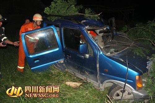 成都一汽车撞树后冲进农田 前部严重变形 组图