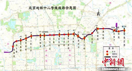 中新网北京1月11日电 (记者 杜燕)贯穿北三环的北京地铁12号线预图片
