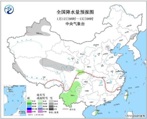 全國降水量預報圖(1月12日08時-13日08時)