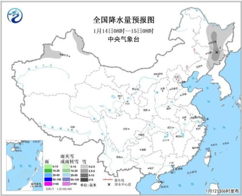全國降水量預報圖(1月14日08時-15日08時)