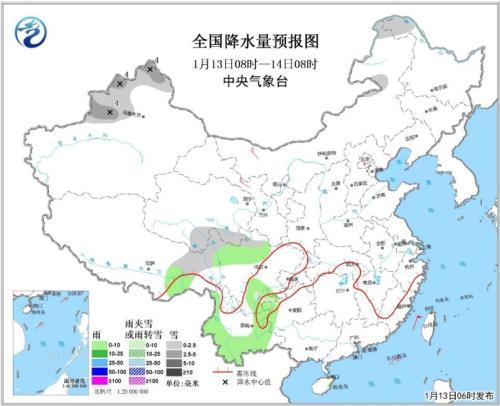圖1 全國降水量預報圖(1月13日08時-14日08時)