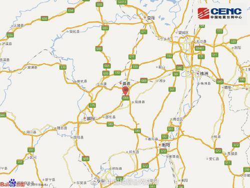 湖南娄底市双峰县发生3.4级地震 震源深度8千米