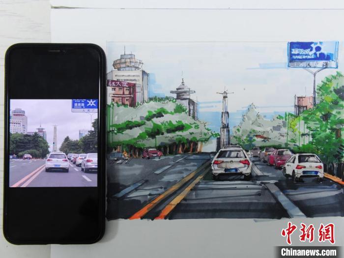 师生创作数百幅手绘画展示长春风貌 记录城市变迁